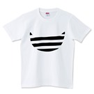 デザインtシャツ ボーダー猫 白