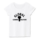 ロゴT「globalcommunication」黒文字半袖女性