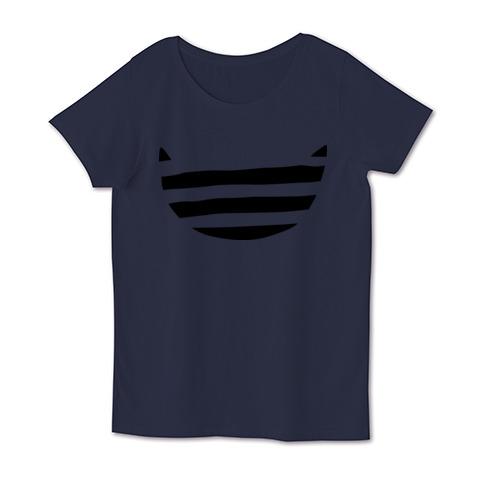 デザインtシャツ ボーダー猫 女性用半袖